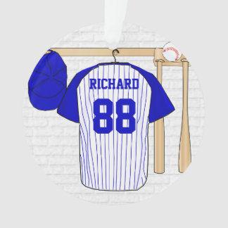 Personalized Blue and White Baseball Jersey Ornament