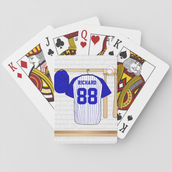 Personalized Blue and White Baseball Jersey Playing Cards