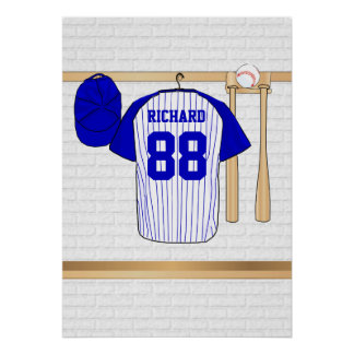 Personalized Blue and White Baseball Jersey Poster