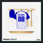 """Personalized Blue and White Baseball Jersey Wall Sticker<br><div class=""""desc"""">Personalized blue and white baseball jersey hanging in a sports locker room with a baseball cap, baseball bats and ball which is fully customizable with your own name and number. Great gift for any baseball, t-ball or softball player or fan. We welcome custom requests for different color combinations for your...</div>"""