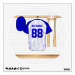Personalized Blue and White Baseball Jersey Wall Sticker<br><div class='desc'>Personalized blue and white baseball jersey hanging in a sports locker room with a baseball cap, baseball bats and ball which is fully customizable with your own name and number. Great gift for any baseball, t-ball or softball player or fan. We welcome custom requests for different color combinations for your...</div>