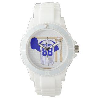 Personalized Blue and White Baseball Jersey Wristwatch