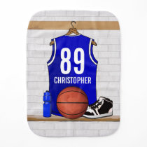 Personalized Blue and White Basketball Jersey Baby Burp Cloth