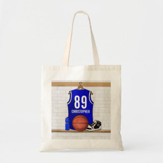 Personalized Blue and White Basketball Jersey Tote Bag