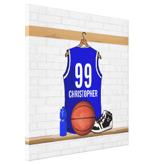 Personalized Blue and White Basketball Jersey Canvas Print