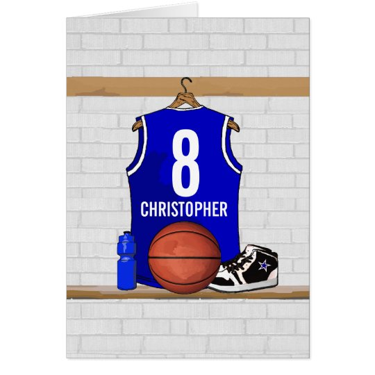 Personalized Blue and White Basketball Jersey Card