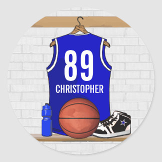 Personalized Blue and White Basketball Jersey Classic Round Sticker