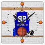 Personalized Blue and White Basketball Jersey Square Wallclocks