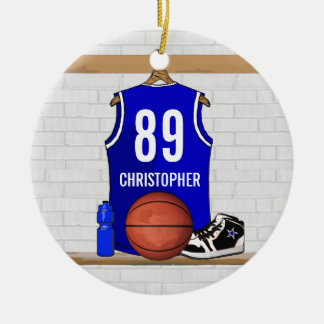 Personalized Blue and White Basketball Jersey Double-Sided Ceramic Round Christmas Ornament