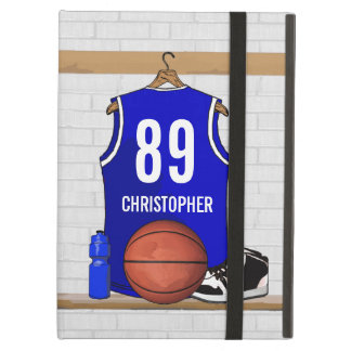 Personalized Blue and White Basketball Jersey iPad Air Cover