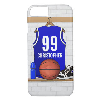 Personalized Blue and White Basketball Jersey iPhone 7 Case
