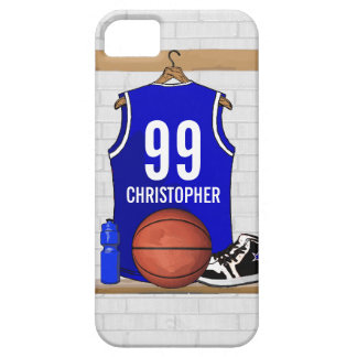 Personalized Blue and White Basketball Jersey iPhone SE/5/5s Case