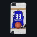 "Personalized Blue and White Basketball Jersey iPod Touch 5G Case<br><div class=""desc"">Personalized blue and white basketball jersey hanging in a sports locker room with a basketball, basketball shoes and a water bottle. The sports jersey is customizable with your own number and name to create a truly unique gift for the basketball player or basketball fan. Would you like this basketball jersey...</div>"
