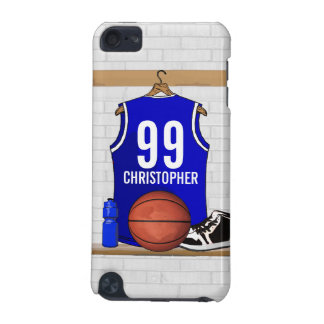 Personalized Blue and White Basketball Jersey iPod Touch 5G Case