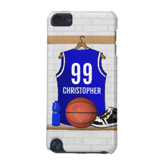 Personalized Blue and White Basketball Jersey iPod Touch 5G Cover