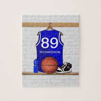 Personalized Blue and White Basketball Jersey Jigsaw Puzzle