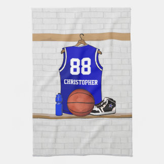 Personalized Blue and White Basketball Jersey Kitchen Towel
