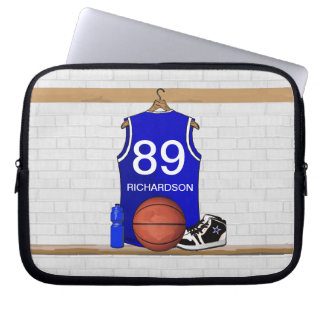 Personalized Blue and White Basketball Jersey Laptop Sleeve