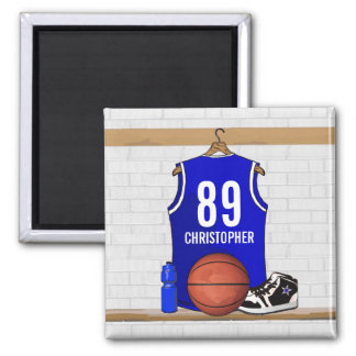 Personalized Blue and White Basketball Jersey Refrigerator Magnet