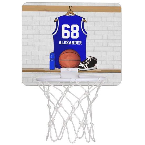 Personalized Blue and White Basketball Jersey Mini Basketball Backboard