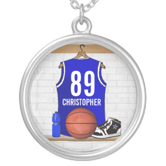 Personalized Blue and White Basketball Jersey Personalized Necklace