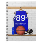 Personalized Blue and White Basketball Jersey Spiral Note Book