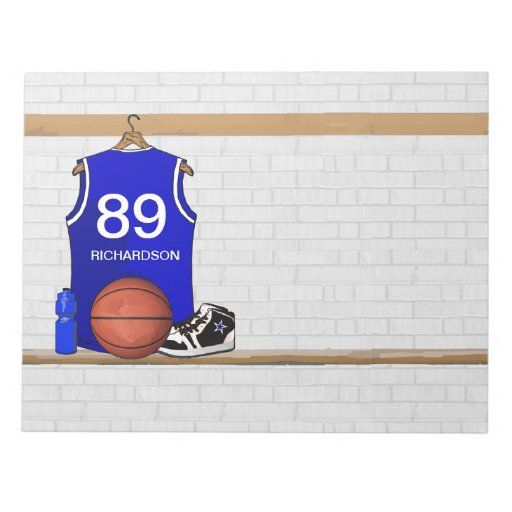 Personalized Blue and White Basketball Jersey Memo Note Pad