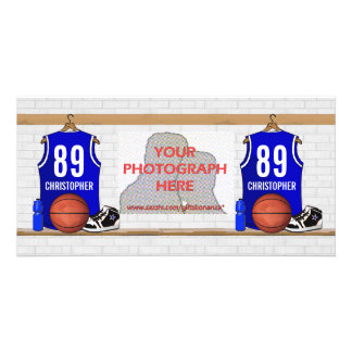 Personalized Blue and White Basketball Jersey Photo Card