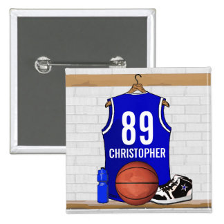 Personalized Blue and White Basketball Jersey Pinback Button