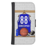 Personalized Blue and White Basketball Jersey Phone Wallet Cases