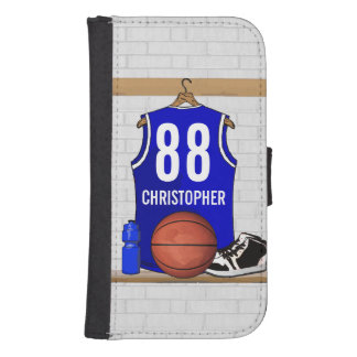 Personalized Blue and White Basketball Jersey Galaxy S4 Wallet Cases