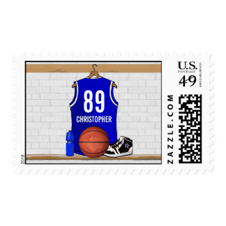 Personalized Blue and White Basketball Jersey Postage Stamp