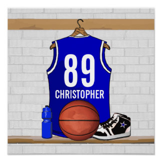 Personalized Blue and White Basketball Jersey Poster