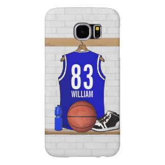 Personalized Blue and White Basketball Jersey Samsung Galaxy S6 Case