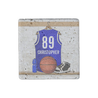 Personalized Blue and White Basketball Jersey Stone Magnet