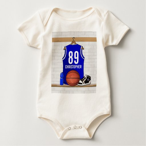 Personalized Blue and White Basketball Jersey Baby Creeper