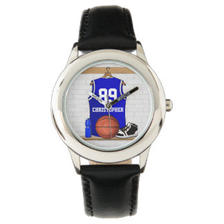 Personalized Blue and White Basketball Jersey Watches