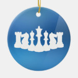 Personalized Blue and White Chess Ornament