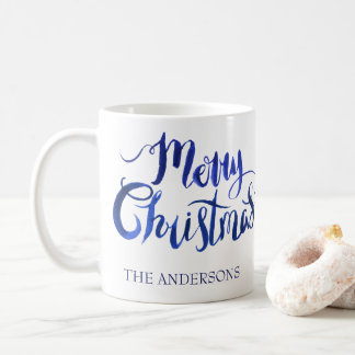 Personalized Blue and White Christmas Mug