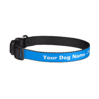 Personalized blue and white dog collar
