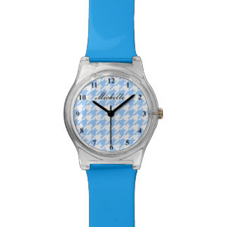 Personalized blue and white dogtooth pattern watch