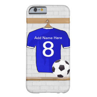 Personalized Blue and White Football Soccer Jersey Barely There iPhone 6 Case