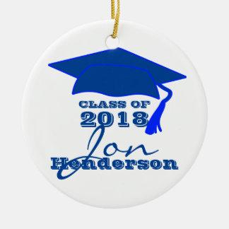 Personalized Blue and White Graduation Ceramic Ornament