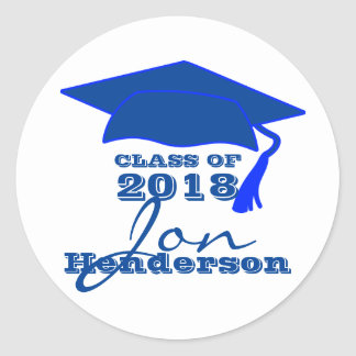 Personalized Blue and White Graduation Sticker