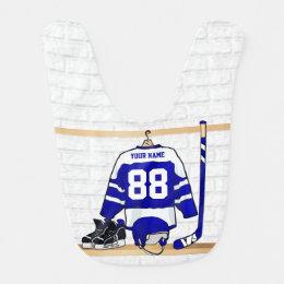 Personalized Blue and White Ice Hockey Jersey Baby Bib