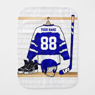 Personalized Blue and White Ice Hockey Jersey Baby Burp Cloth
