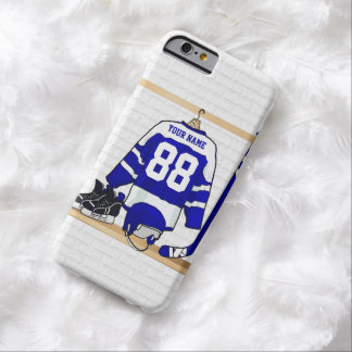 Personalized Blue and White Ice Hockey Jersey Barely There iPhone 6 Case