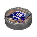 Personalized Blue and White Ice Hockey Jersey Candy Tin