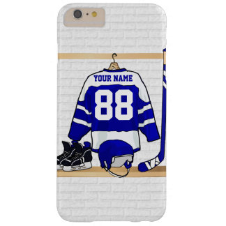 Personalized Blue and White Ice Hockey Jersey Barely There iPhone 6 Plus Case