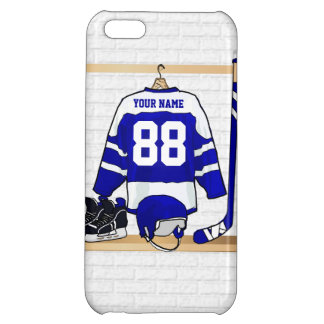 Personalized Blue and White Ice Hockey Jersey Case For iPhone 5C